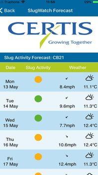 screenshot of slug watch app forecast
